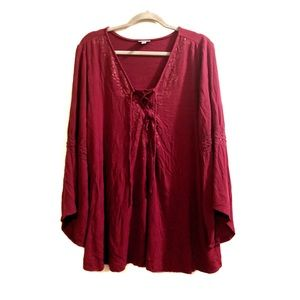 Avenue maroon peasant blouse with detailed sleeves